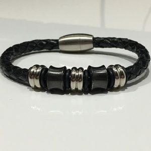 Black Braid Graphite Silver Beads Magnet Bracelet